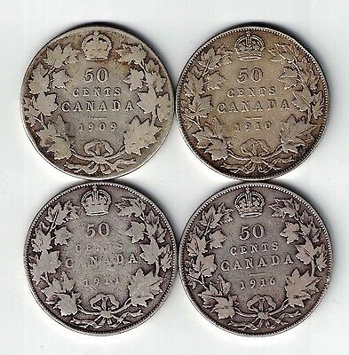 4 X Canada Fifty Cents Half Dollar Edward George Sterling Silver Coins 1909-1916
