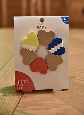 BABY TOY - WOODEN HEARTS  - PRAM TOY - 6+months