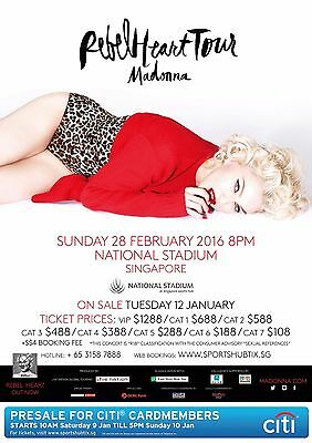 "MADONNA ""REBEL HEART TOUR"" 2016 SINGAPORE CONCERT POSTER-Pop, Dance, Electronica"