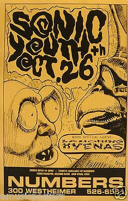 SONIC YOUTH / LAUGHING HYENAS 1991 HOUSTON CONCERT TOUR POSTER - Alt Rock Music