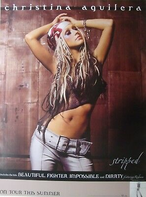 """Christina Aguilera """"stripped, On Tour This Summer"""" 2002 U.s. Promo Poster"""