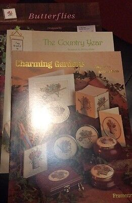 3 Floral Cross Stitch Booklets Charming Gardens Butterflies The Country Year New