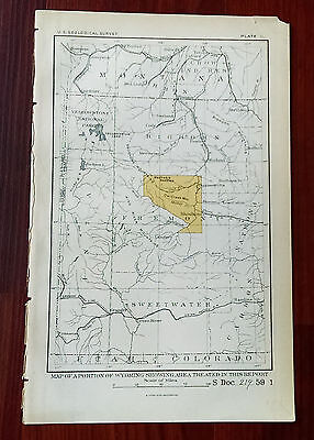 1905 USGS Wyoming Showing Big Horn Yellowstone Park Sweetwater Map