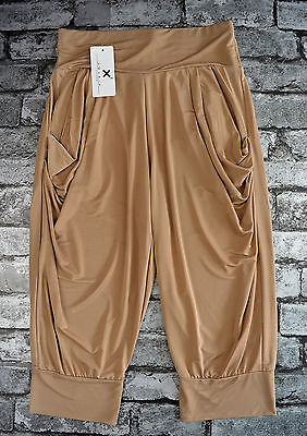 Nwt Women's Cropped Coffee Brown Harem Trousers Uk Size 8