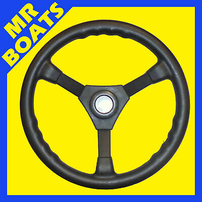 "BOAT SPORTS STEERING WHEEL BLACK 3-SPOKE 340MM / 13 Inches. 3/4"" Tapered Shaft"
