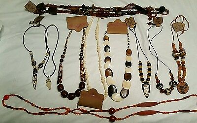 Beautiful Lot Of African Tribal Necklaces Bone Wood Clay Bakelite Ect