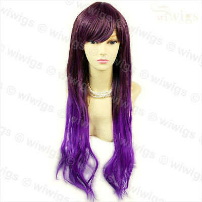 NEW Cosplay Purple mix Long Straight Layes Heat Resistant Ladies Wigs WIWIGS UK