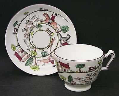 Crown Staffordshire HUNTING SCENE Oversized Cup & Saucer 6317509