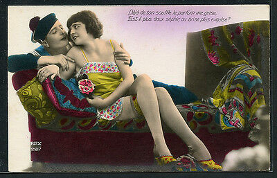 French 1920s HAND TINTED Lovers LINGERIE Slip Chemise SAILOR ~ PARIS Latest!