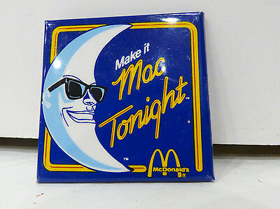 "1988 McDonald's Mac Tonight Pinback Button Badge 2 1/8"" Square Mint"