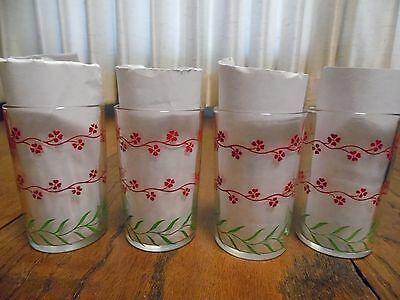4 Vintage Red Swanky Swig Forget Me Not Glasses