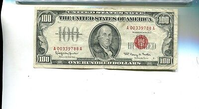 1966 $100 Red Seal Currency Note Fine 7949H