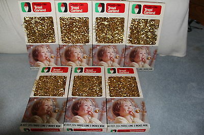 "7 Boxes Doubl Glo Tinsel Garland 40 Feet Each X 3"" Wide New In Box"