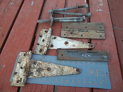 "Folk Art  Large Metal 10""  Barn Door Hinges White Paint Pin Hinges Anchor Bolt"