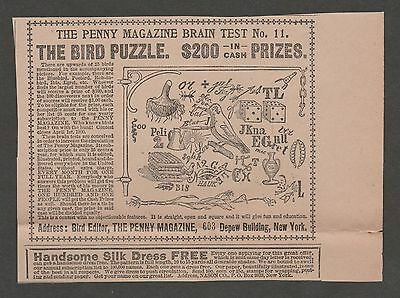 Vintage Ad From The Gentlewoman March 1900 The Penny Magazine Bird Puzzle