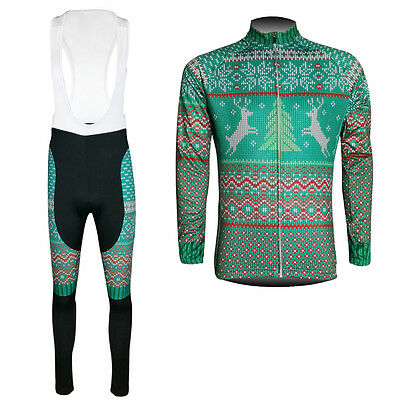 New Fashion Mens Bike Cycling Long Sleeve Jersey Bib Pants Suits Christmas Gifts