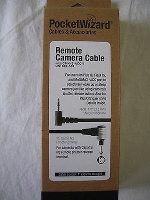"""Pocket Wizard 802-501 CM-N3-ACC-1 Canon's N3 Camera Cable  """"NEW"""""""
