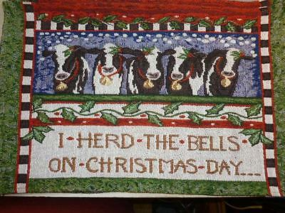 4 Cow Tapestry Placemats I Herd The Bells on Christmas Day