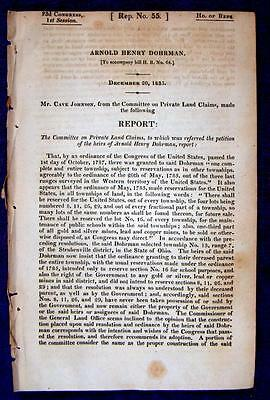 "1833 OHIO Land Petition ""Dohrman's Tract"" Harrison Tuscarawas Counties"