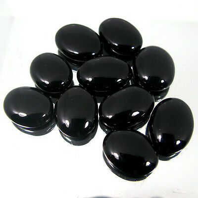 5 PIECES OF 7x5mm OVAL CABOCHON-CUT NATURAL AFRICAN JET-BLACK ONYX GEMS £1 NR!