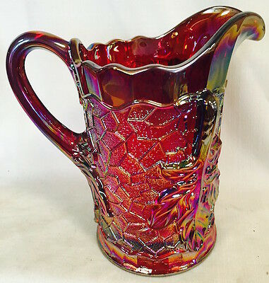 Red Carnival Glass Maple Leaf Pattern Large Water Pitcher - Mosser Glass