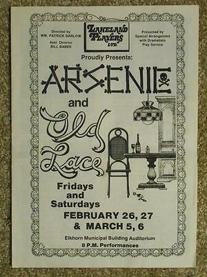 Arsenic & Old Lace Program Feat. TSR Performers 1982