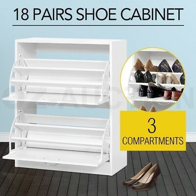 Wooden Shoe Cabinet Large Stoarge Organiser Rack Chest Shelf Max.18 Pairs White