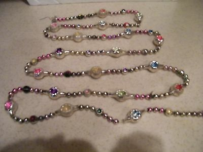 Antique Mercury Glass Christmas Tree Garland 4 Small Tree 70 In. Long w/ Endents
