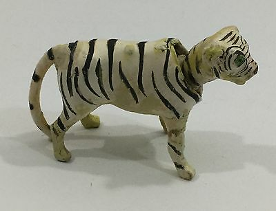 Unusual Antique German Carved Wood Miniature Nodder Of A White Tiger