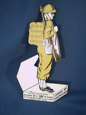 Vintge WW1 Full Dressed Soldier Home Front Gambling Unused Punch Board Card
