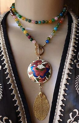 Vintage Artisan Necklace Huge Cloisonné Butterfly Pendant Long Agate Pearl Beads