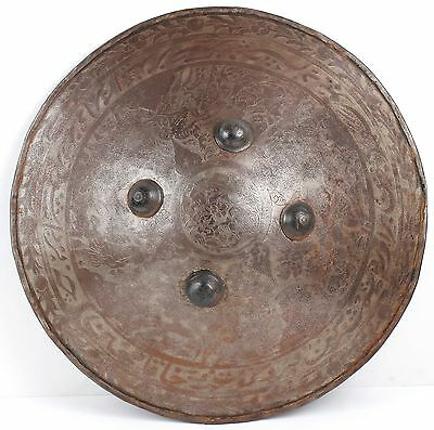Antique ENGRAVED INDO PERSIAN Metal WAR SHIELD! Battle Armor - Great Detail!