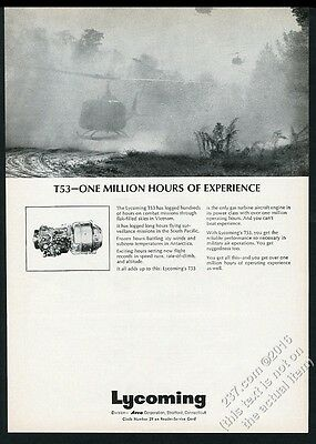1965 Vietnam War photo Lycoming T53 helicopter engine vintage print ad