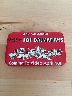 Disney 101 Dalmatians vintage pin back button red square classic video release