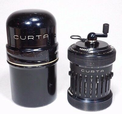 RARE EARLY 1953 ALL BLACK CURTA Type II Calculator, Very Low #500512 -w/ can