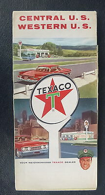 1964 Central & Western United States  road  map Texaco  oil gas route 66