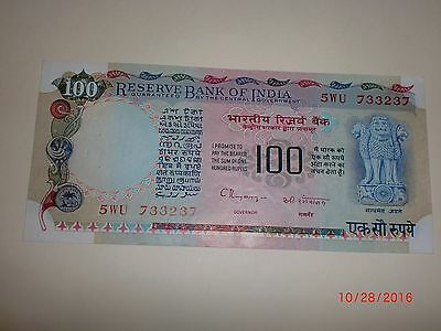 - India Paper Money - Old Currency Note - Rs. 100/-  C.rangarajan-Rare-Unc.# Eaq
