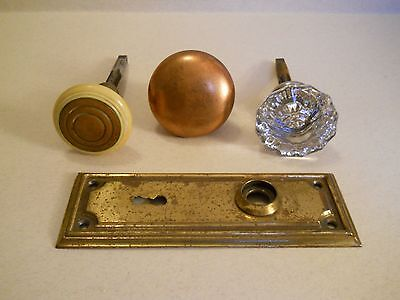 lot of 3 vintage Door Knobs, stems and one back plate