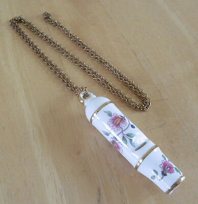 Vintage Hammersley Fine Bone China Floral Whistle Pendant On Chain