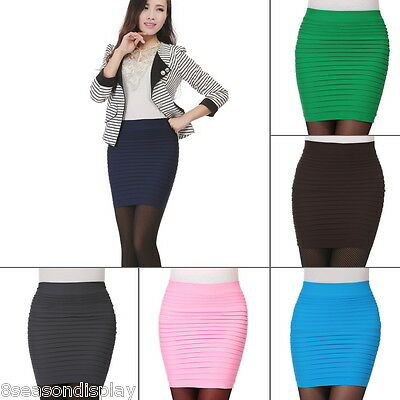 Women's Summer Ladies Pleated Stretch Short Bodycon Pencil Mini Skirts