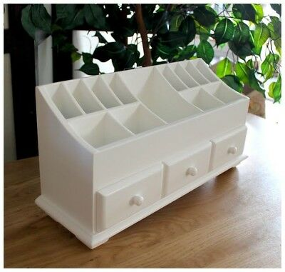 Multi-purpose White  Wood Cosmetic Organiser Caddy With Three Drawers