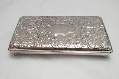 A Good Heavy Silver Plated Table Cigarette Box - Engraved Surface
