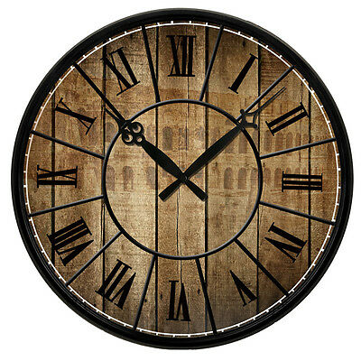 "15"" Vintage Design Wooden Print Texture Rustic Country Tuscan Decor Wall Clock"