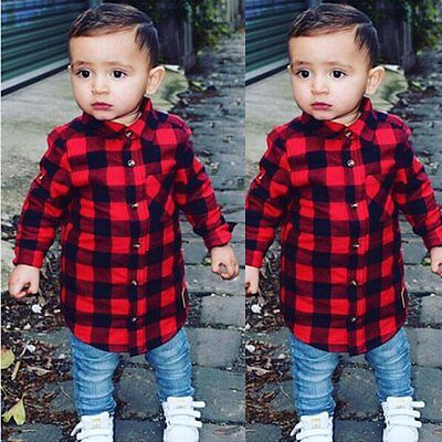 Toddler Kids Baby Boy Cotton Long Sleeve Plaids Shirt Blouse Tops Clothes Outfit
