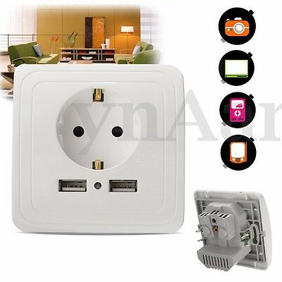 2.0A Wall Charger Adapter EU Plug Wall Socket Power Outlet Panel Dual USB Ports