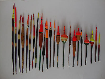 Large Collection of Vintage English Quill and Balsa Fishing Floats