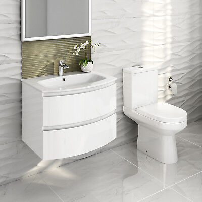 Modern Bathroom Furniture Vanity Unit Basin Sink Wall Hung Curved & Toilet