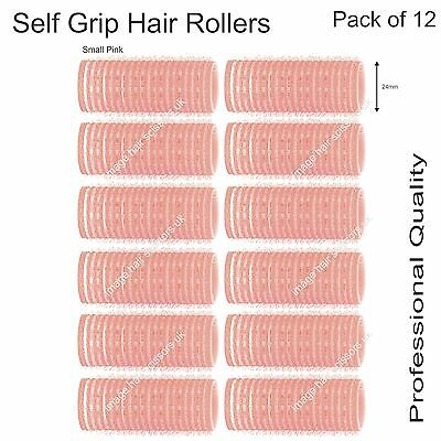 Soft Self Grip Cling Hair Curling Rollers SMALL PINK 24mm Professional Pack 12