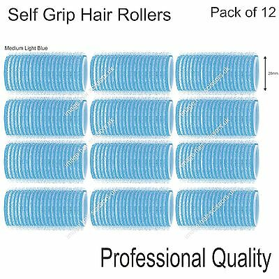 Soft Self Grip Cling Hair Curling Rollers MEDIUM LIGHT BLUE 28mm Pack 12