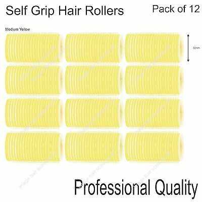 Soft Self Grip Cling Hair Curling Roller MEDIUM YELLOW 32mm Professional Pack 12
